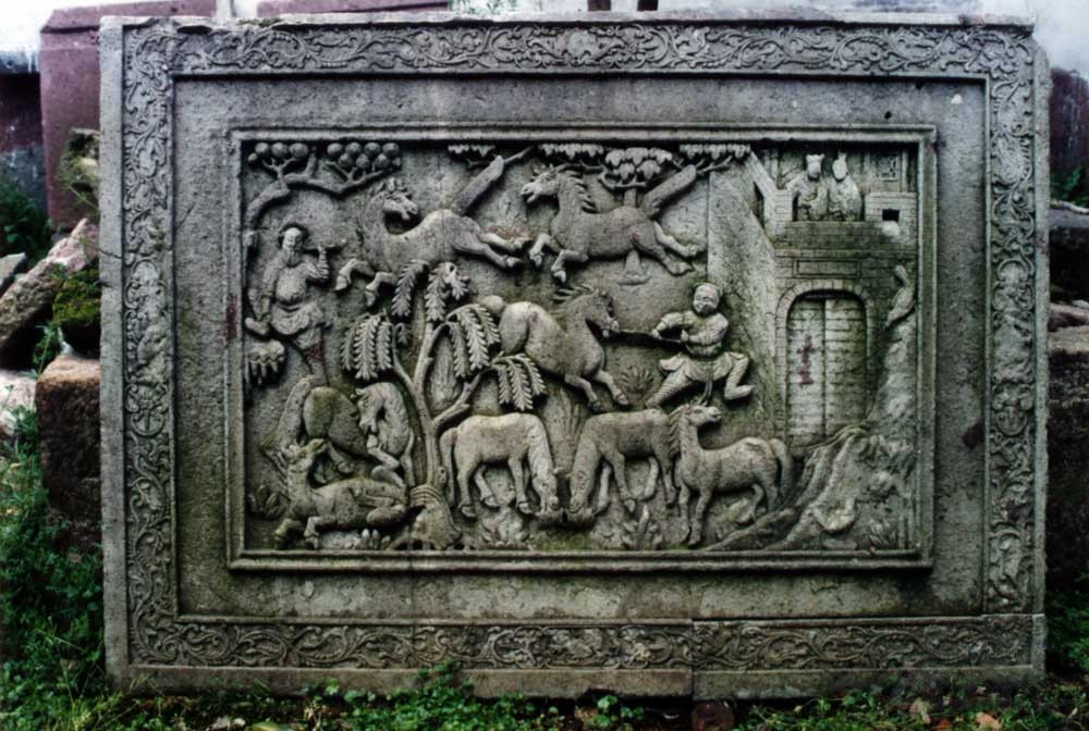 花坛石雕(八骏图)
